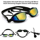 Adult Swimming Race Goggles Glasses With Earplugs Anti-Fog & UV HD Mirror Lens
