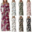 Womens Floral Winter Long Sleeve Evening Party Bodycon Round Neck Maxi Dress