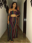 long dress with coat - Sexy 3PCS Women Colorful Stripes Crop Top Skinny Pants With Long Coat Jumpsuit