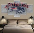 Framed 5Pcs New England Patriots NFL Canvas Print Painting Wall Art Home Decor