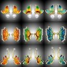 Chic Butterfly Flower Crystal Stud Ear Earrings Jewelry Valentine's Day Gift Hot