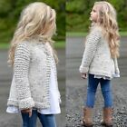 2T-9T Kids Baby Girls Outfit Clothes Button Knitted Sweater Cardigan Coat Tops