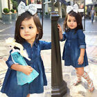 Внешний вид - Kids Baby Girls Denim Jeans One Picece Princess Dress Long Sleeve Skirts Costume
