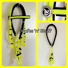 BEST QUALITY NEON YELLOW SOFT PVC COB FULL DRAFT BARCOO STOCK HORSE BRIDLE REINS
