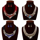 Women Crystal Party Weave Necklace Pendant Vogue Hook Earrings Jewelry Sets