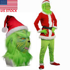 The Grinch Costume Movie Cosplay Costume With Hat Belt Glove for Show Halloween