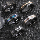8mm Black Tungsten Men's Black Blue Gold Line Stripe Brushed Center Wedding Band
