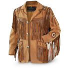 NEW Mens Western wear Brown Suede Leather Jacket with beads  fringes Indians