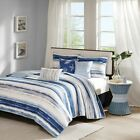 Luxury 6pc Coastal Blue Stripes Coverlet Quilt Set AND Decorative Pillows
