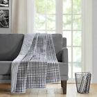 "Luxury Grey & White Traditional Plaid Oversized Quilted Throw - 60"" x 70"" image"