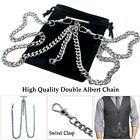 Antique Silver Color Double Albert Chain Pocket Watch Chain T Bar Lobster Clasp