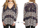 FREE PEOPLE M+L Isabelle Floral Print Top BLUE C New Tags