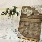 Personalised Wedding Table Seating Plan- RUSTIC WOOD/BURLAP & LACE - 4 SIZES