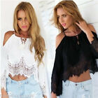US STOCK Ladies Boho Off Shoulder Solid Shirts Lace Tops Tees Blusas Blouse Tops