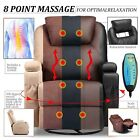 Massage Recliner Chair Heated Vibrating Ergonomic Lounge 360 Swivel with Remote