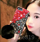 Luxury Rabbit Fur Ball Bling Crystal Diamond PC Case Cover Skin For Cell Phones