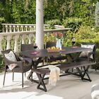 Ismus Outdoor 6 Piece Aluminum Dining Set with Bench and Stacking Chairs