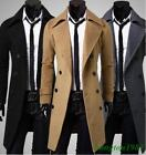 Mens Lapel Collar Med Long Jacket Double Breasted Slim Fit Casual Parka Casual