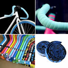 2x Bike Cycling Road Bike Sports Bicycle Cork Handlebar Rubber Tape Wrap+2 Bar G
