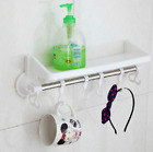 Multi Suction Cup Shelf With Hooks Organizer Storage Kitchen Holder White Color