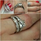 4.59CTW STERLING SILVER NICKEL FREE VNTG STYLE ENGAGEMENT RING WEDDING RING SET