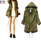 US Fashion Women Hoodie Drawstring Army Green Military Trench Parka Jacket Coat