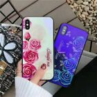 Blu-ray Rose Flower Back Glass Shockproof Soft Case Cover for iPhone X 7 8 Plus