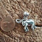 Silver Lucky Celtic Spiral Elephant Trunk Up Dangle Charm fit European Bracelet