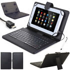 "For 7"" 8"" 10"" 10.1"" Tablets Protective PU Leather Case W/ USB Keyboard Cover WQ"