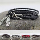 New Fashion Wrap Braided Wristband Cuff Punk Men Women Bracelet Bangle Leather image