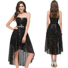 Short Black Tulle Homecoming Dress Sequins Lady Evening Cocktail Prom Bridesmaid