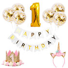 Gold Theme Birthday Party Decoration Confetti Balloons Paper Straws Banner Baby