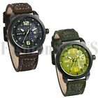 Army INFANTRY Mens Brown Green Leather Quartz Analog Sport Wrist Watch Watches image