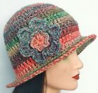 CROCHET LADIES CLOCHE HAT festival hippy vintage cowl scarf gloves set mittens