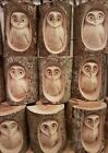 Hand Carved Wood Tree Log Double Owl single Hand Made Carving Garden Ornament