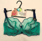 M & S  SHEER  BALCONY BRA RICH AQUA  SCALLOP EMBROIDERY MARKS & SPENCER