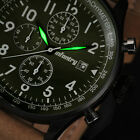 INFANTRY Mens Quartz Wrist Watch Lume Chronograph Date Sport Army Brown Leather
