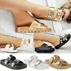 Ladies Womens Studded Buckle Slip On Mules Summer Sliders Sandals Shoes Size 3-8
