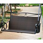International Caravan Lisbon Resin Wicker Patio Loveseat Porch Swing