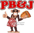 PB & J DECAL (Choose Your Size) Monkey Concession Food Sticker
