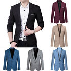 Внешний вид - Men's Slim Fit One Button Suit Blazer Business Leisure Work Coat Jacket Outwear