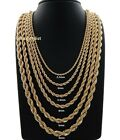 "Hip Hop Rope Chain Necklace 20"" 22"" 24"" 26"" 30"" Inch 14k Gold Finish"