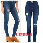 ex-River Island Women's Blue Mid Wash Distressed Ripped Molly Jegging. RRP £40