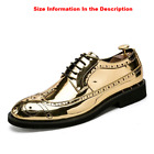 Men's Gold Dress Shoes Brogue Wing Tip Ballroom Wedding Formal Shoes For Men