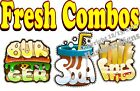 Fresh Combos DECAL (CHOOSE YOUR SIZE) Burger Fries Food Truck Concession Sticker