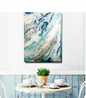 Blue Abstract Stretched Canvas Print Framed Wall Art Home Office Shop Decor DIY