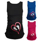 Cartoon Baby Foot Print Women Maternity Pregnant Sleeveless T-shirt Funny Tops