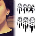 1pc Tree of Life Hollow Steel Leaf Dangle Flesh Tunnels Ear Plugs Ring Gauges