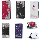 Luxury Flip Flowers Leather Bling Crystal Diamond Card Wallet Phone Case Cover