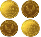 Gold Eagle Freedom Tokens No Cash Value on other side Measurements 25mm x 1.5mm